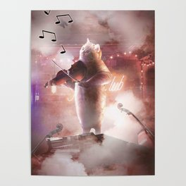 Funny Cute Cat Playing Violin Poster