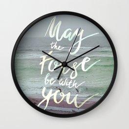 Inspirational lettering artwork sea theme Wall Clock