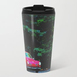 red classic car in the forest with green tree background Travel Mug