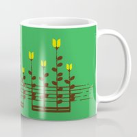 music notes Mugs featuring Music notes garden by Picomodi