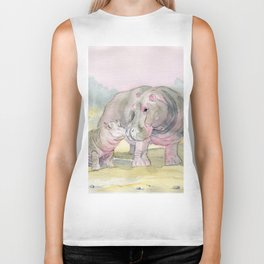 Colorful Mom and Baby Hippo Biker Tank