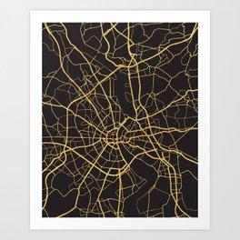 COLOGNE GERMANY GOLD ON BLACK CITY MAP Art Print