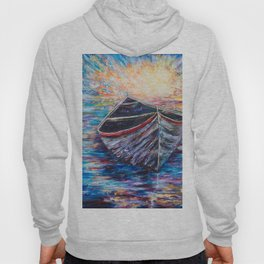 Wooden Boat at Sunrise - original oil painting with palette knife #society6 #decor #boat Hoody