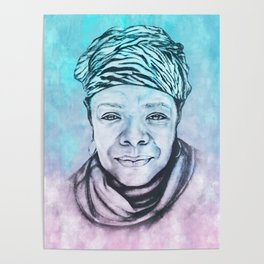 Maya Angelou Portrait on Blue and Pink Poster