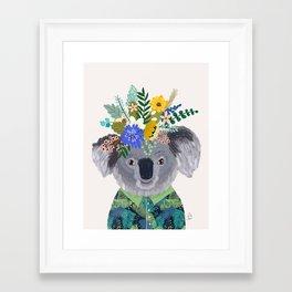 Koala with flowers on head Framed Art Print