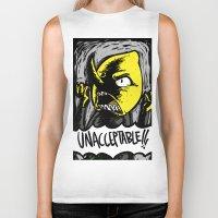 lemongrab Biker Tanks featuring UNACCEPTABLE!!! by Eevachu