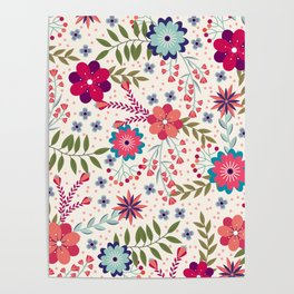 Colorful Floral Spring Pattern Poster