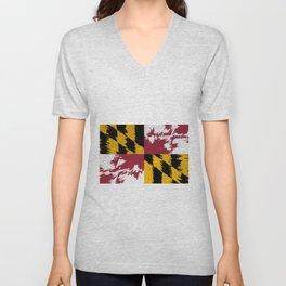 Extruded flag of Maryland Unisex V-Neck