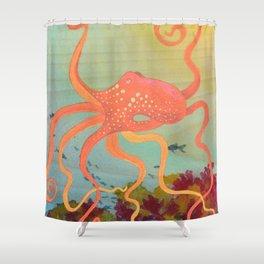 safety orange octopus Shower Curtain
