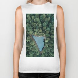 Hidden Lake in a Forest - Landscape Photography Biker Tank