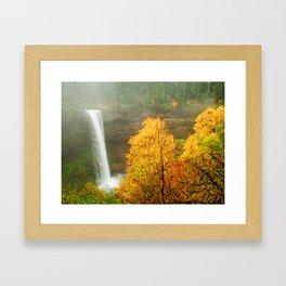 Waterfall into Fall Framed Art Print
