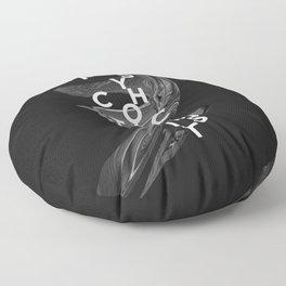 psychotic optimist Floor Pillow