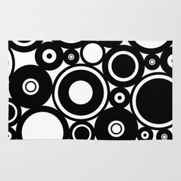 Retro Black White Circles Pop Art Rug