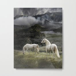 White Stallions of the Gods Metal Print