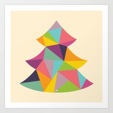 Colourful Christmas Tree Art Print