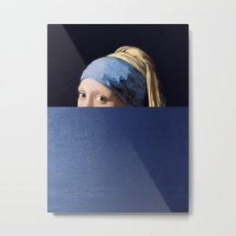 girl with pearl earring mixed media art parody Metal Print