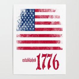 American Flag Established 1776 Vintage Print Poster