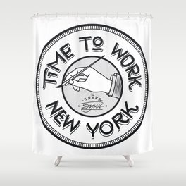 Time to work NY. Engrave style. Shower Curtain
