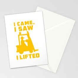 I Came Saw Lifted - Shape Of A Forklift Stationery Cards