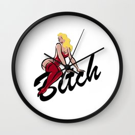 Blonde Bitch Vintage Humor Wall Clock