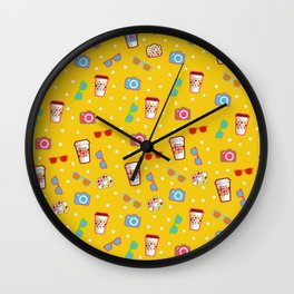 Coffee cup hipster pattern, yellow polka dot cool sunglasses pattern Wall Clock