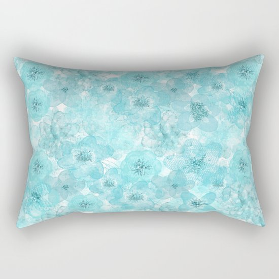 Turquoise aqua flower lace pattern on #Society6 Rectangular Pillow