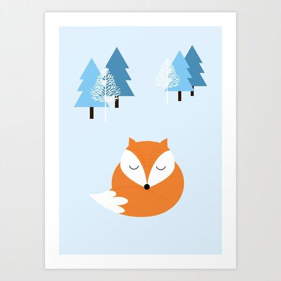 Sweet dreams with fox Art Print