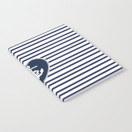 Modern navy blue white heart anchor nautical stripes Notebook