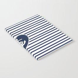 Modern navy blue white heart anchor nautical stripes Notebook