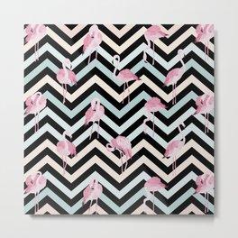 Flamingo on colorful chevron pattern Metal Print