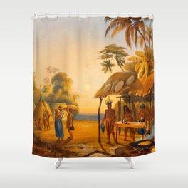 Watu Ticabu Illustrations Of Guyana South America Natural Scenes Hand Drawn Shower Curtain