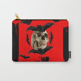 BAT INFESTED HAUNTED SKULL ON BLEEDING RED ON RED  ART Carry-All Pouch