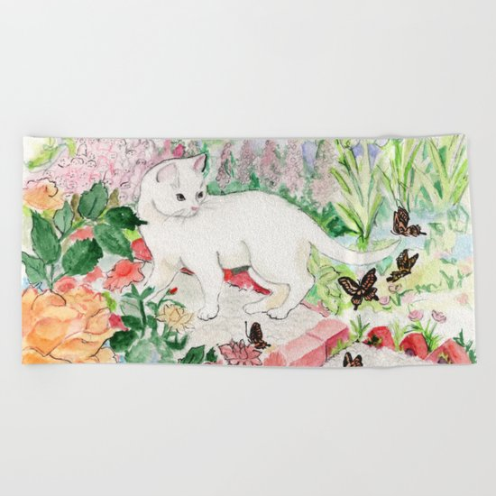 White Cat in a Garden Beach Towel
