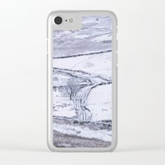 Mountain road covered in snow. 'The Struggle', road to Ambleside from the Kirkstone Pass. Clear iPhone Case