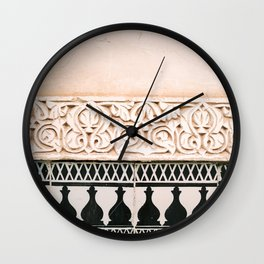 Graphic tile pattern | Moroccan Arabic tiles in earth tones. | Pastel film marrakech photography Wall Clock