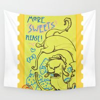 lama Wall Tapestries featuring lama goloso di dolci by Octofly Art