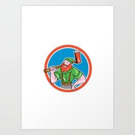 Paul Bunyan LumberJack Circle Cartoon Art Print