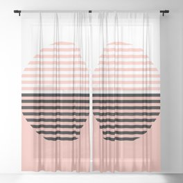 Horizons Geometric Design 5 - Peach Pink Sheer Curtain