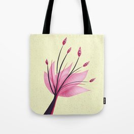 Pink Abstract Water Lily Flower Tote Bag