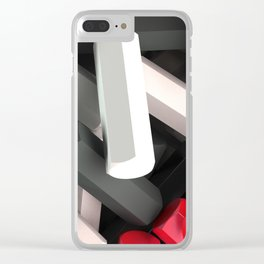 Pile of black, white and red hexagon details Clear iPhone Case