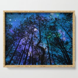 Black Trees Teal Purple Space Serving Tray