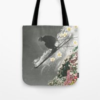 skiing Tote Bags featuring Spring Skiing by Sarah Eisenlohr