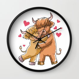 Highland Cattle Valentines Day Scottish Cow Farmer Gift Wall Clock