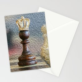 chess oil painting still life king art print black and white Stationery Cards