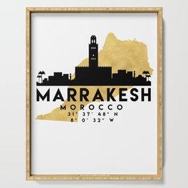 MARRAKESH MOROCCO SILHOUETTE SKYLINE MAP ART Serving Tray