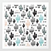 Indian summer cactus garden illustration pattern Art Print
