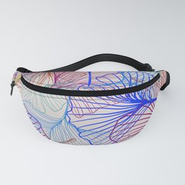 Ginkgo Leaves in Retro Rainbow Fanny Pack