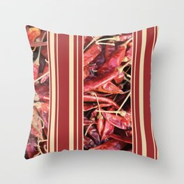 Chilies Stripes pattern red Throw Pillow