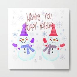 Muñecos de nieve felices Metal Print