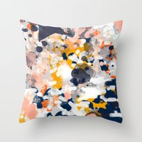 Throw Pillows featuring Stella - Abstract painting in modern fresh colors navy, orange, pink, cream, white, and gold by CharlotteWinter